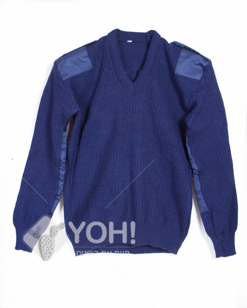 סוודר סריג צבאי טלאים בצבע כחול נייבי
