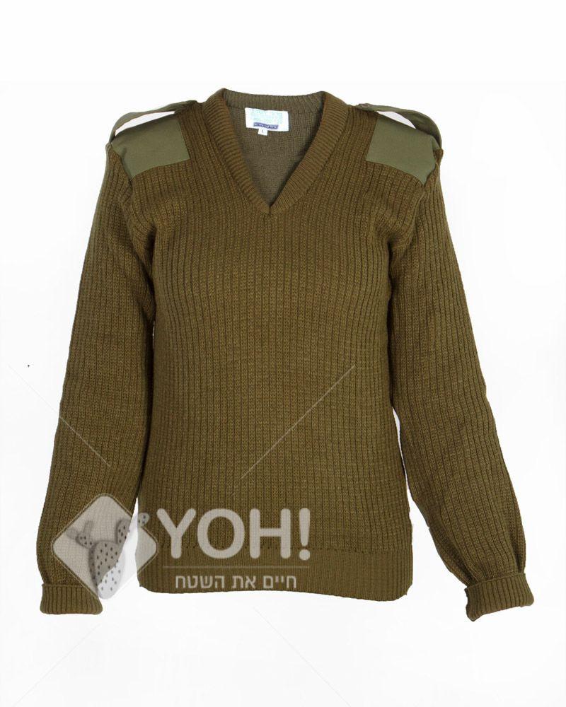 """סוודר סריג צבאי לחיילות תקני צה""""לי עם טלאים בצבע זית"""
