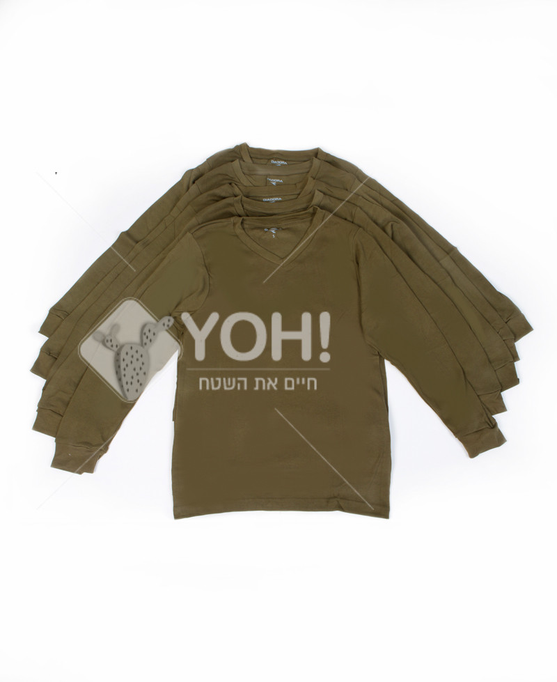 3  DIADORAיחידות חולצה זית שרוול ארוך