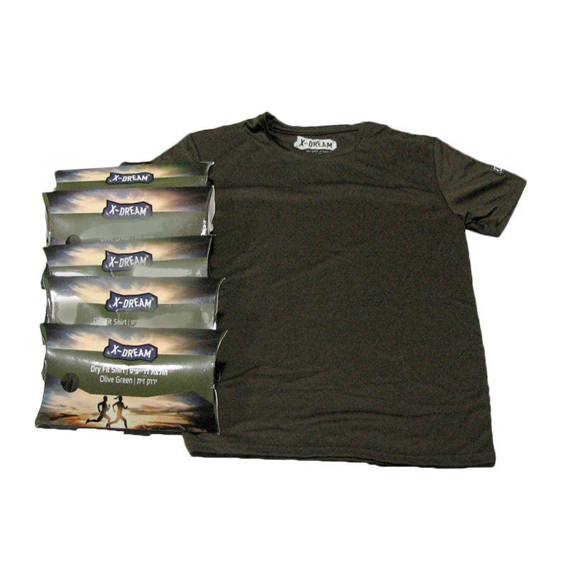 חמישיית חולצות דריפיט בצבע זית