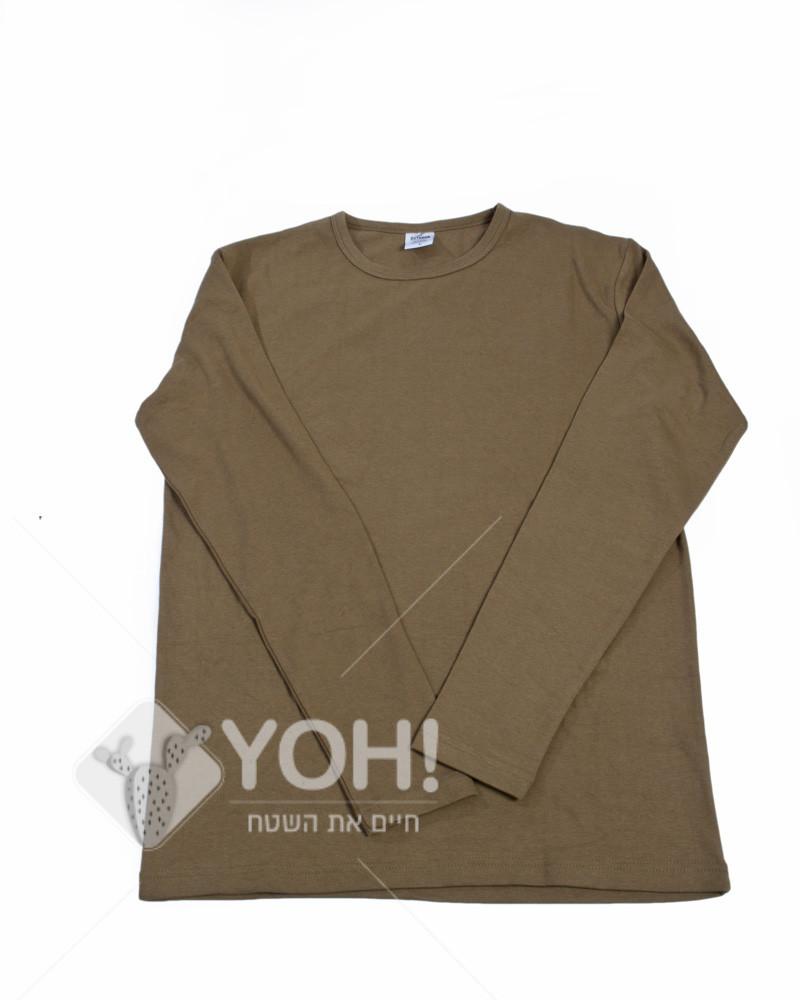 חולצה זית שרוול ארוך גזרת בנות מבית OUTDOOR